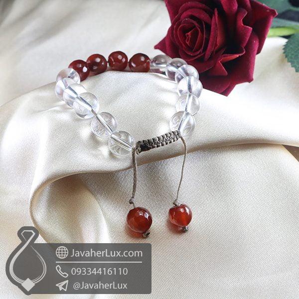 دستبند بافت عقیق قرمز و دُر _ کد : 400712