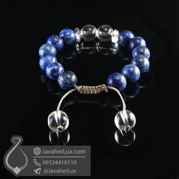 دستبند بافت سنگ کریستال کوارتز و لاجورد _ کد : 400716