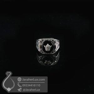 انگشتر نقره مردانه عقیق سیاه تاج پادشاهی _ کد : 100738