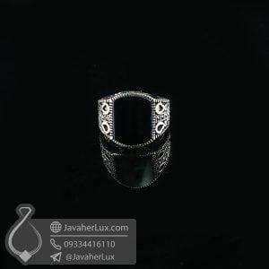انگشتر نقره مردانه عقیق سیاه _ کد : 100739