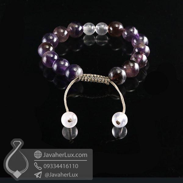 دستبند بافت آمتیست و رز کوارتز _ کد : 400713