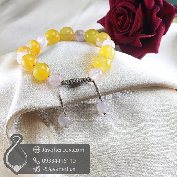 دستبند بافت عقیق زرد و رز کوارتز _ کد : 400714