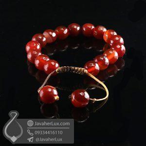 دستبند بافت عقیق قرمز _ کد : 400715