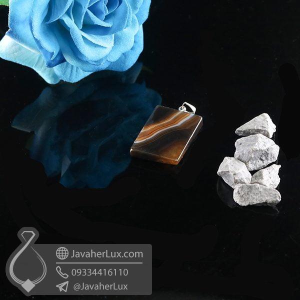 گردنبند سنگ عقیق سلیمانی _ کد : 400741