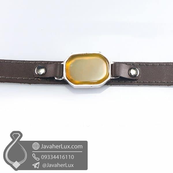 دستبند چرم عقیق زرد _ کد : 400769