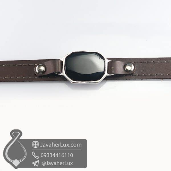 دستبند چرم عقیق سیاه _ کد : 400776