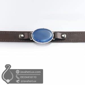 دستبند چرم عقیق آبی _ کد : 400778