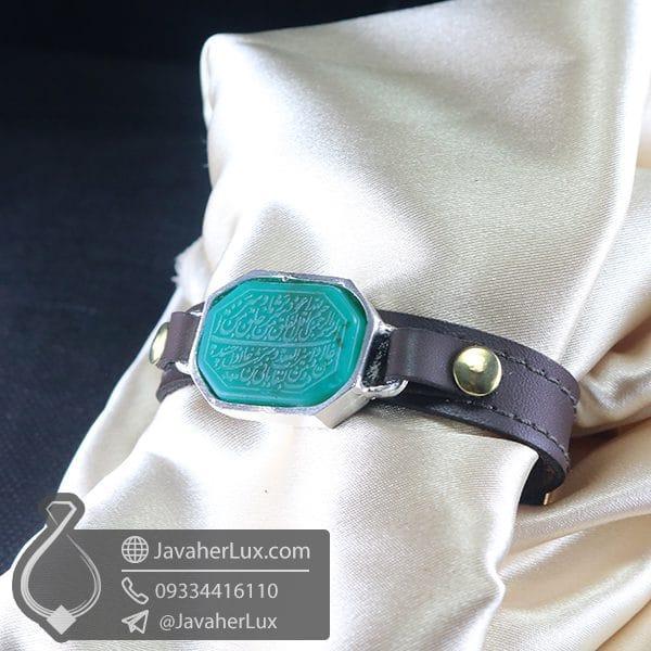 دستبند عقیق سبز حکاکی سوره فلق _ کد : 400780